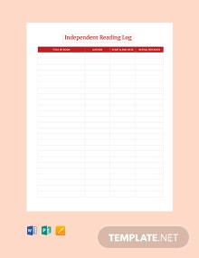 Free Blank Independent Reading Log