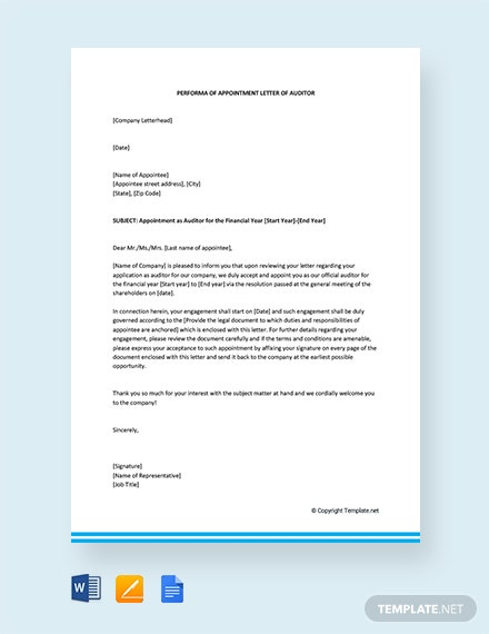Free Performa of Appointment letter for Auditor
