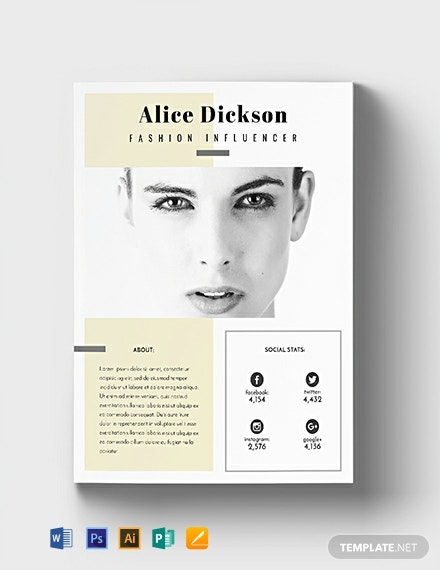 Free Fashion Influencer Media Kit Template
