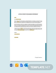 Free Letter Of Intent For Business Partnership