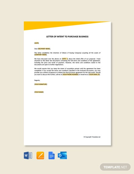 Letter Of Intent To Purchase Business Template [Free PDF] - Google Docs, Word
