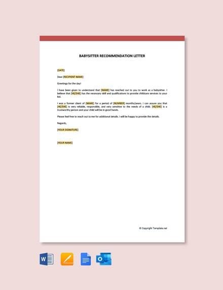 Free Babysitter Recommendation Letter