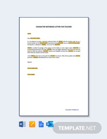 Free Character Reference Letter For Teacher