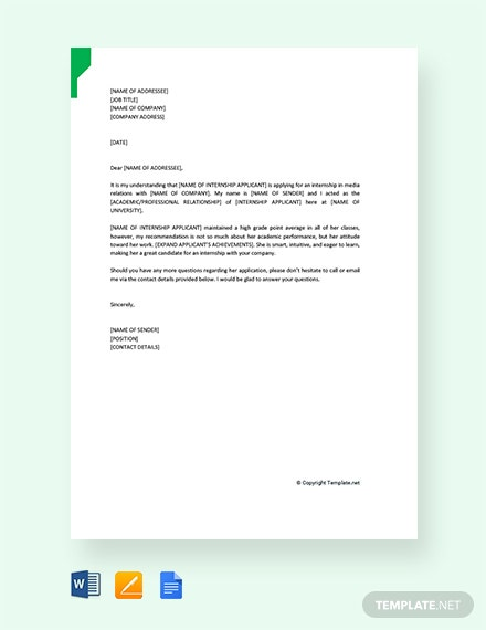 Free Reference Letter for Internship Student
