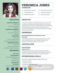 Free Basic Pharmacist Resume Template