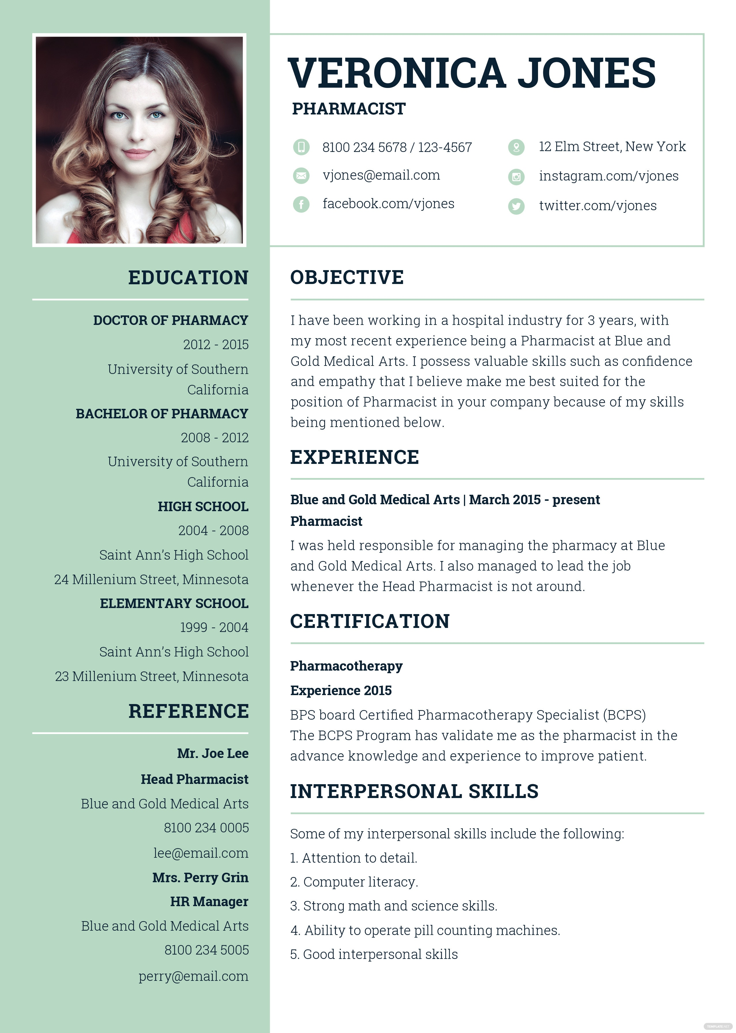 free basic pharmacist resume and cv template in adobe