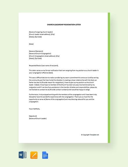 Free Church Leadership Resignation Letter