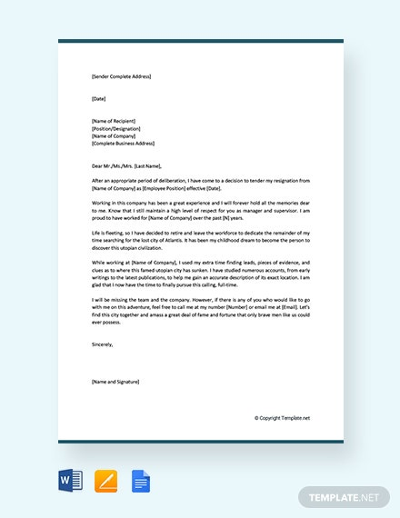 Free Funny Retirement Resignation Letter