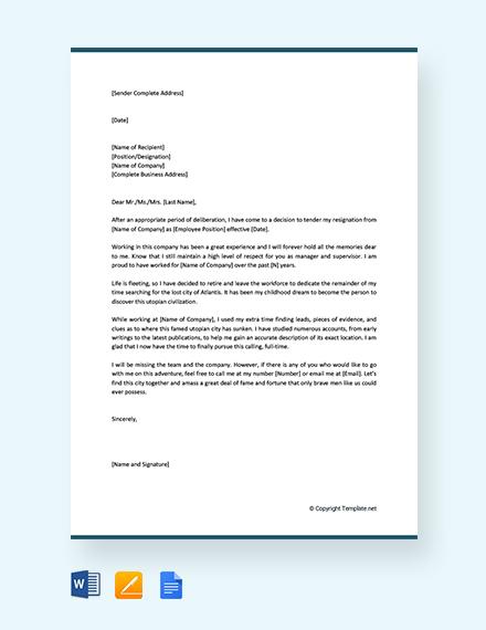 Funny Retirement Resignation Letter