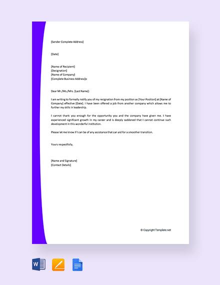 Free Immediate Resignation Letter For New Job