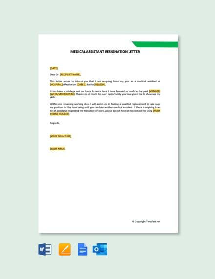 Free Medical Assistant Resignation Letter