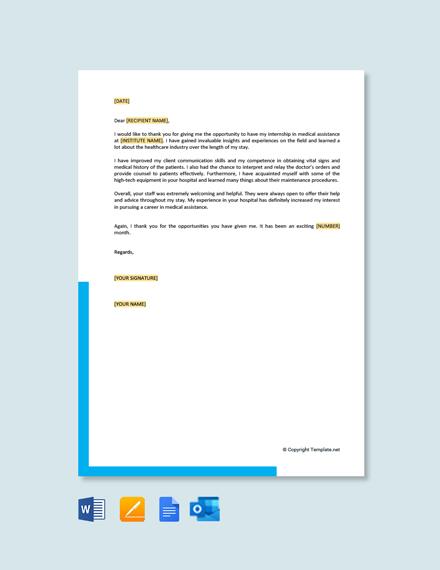Medical Assistant Thank You Letter After Internship
