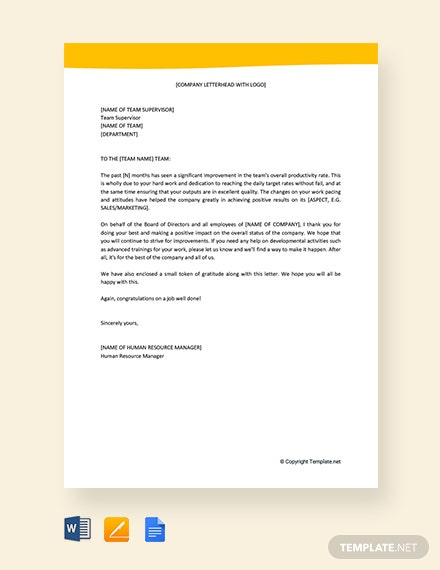 Free Thank You Letter to Employees For Excellent Performance