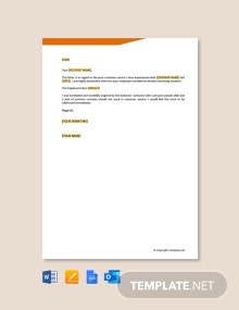 Free Complaint Letter For Poor Customer Service