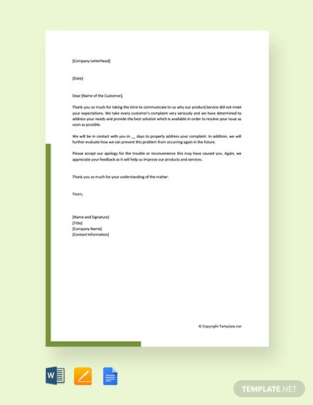 Free Response to Customer Complaint Letter