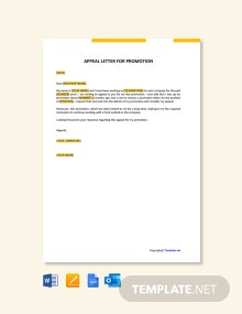 Free Appeal Letter For Promotion