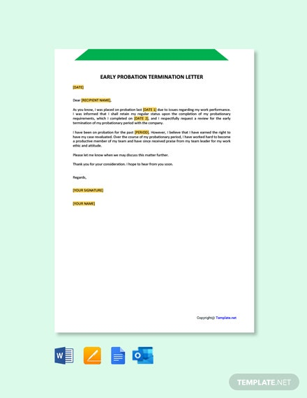 Early Probation Termination Letter Template [Free PDF] - Google Docs, Word