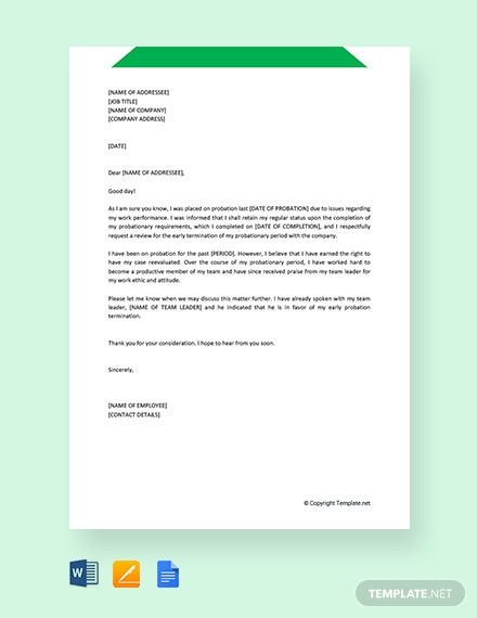 Free Early Probation Termination Letter