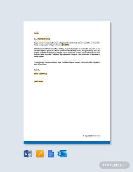 Family Emergency Leave Letter Template