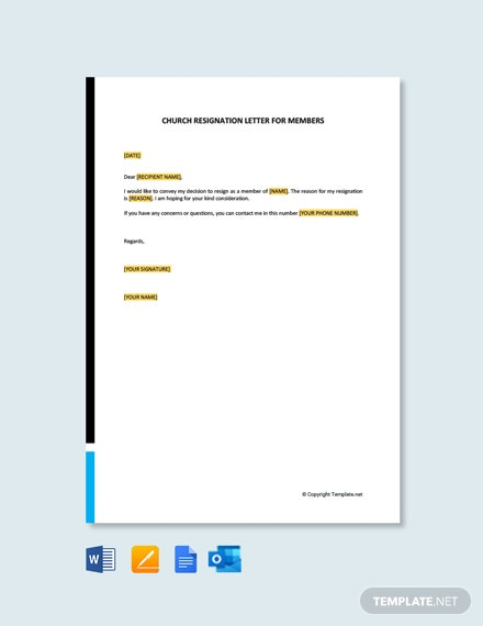 Free Church Resignation Letter for Members