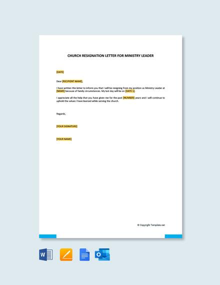 Free Church Resignation Letter For Ministry Leader