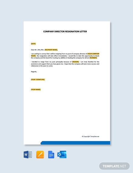 Free-Company-Director-Resignation-Letter-1-1 Mac Resignation Letter Template on free printable company, 2 week notice, for school aide,