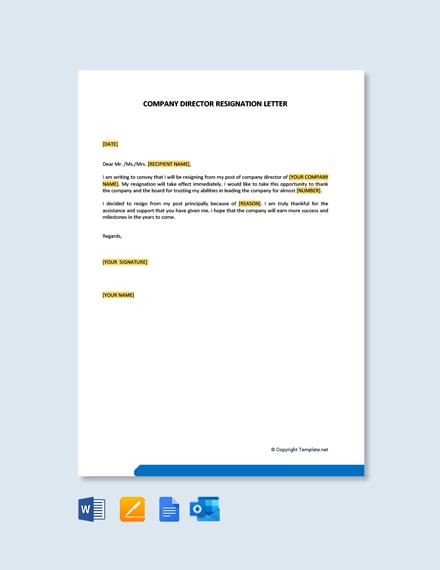 Free Company Director Resignation Letter