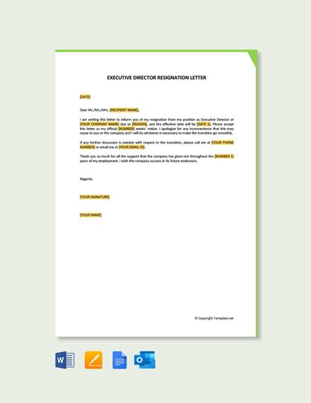 Executive Director Resignation Letter