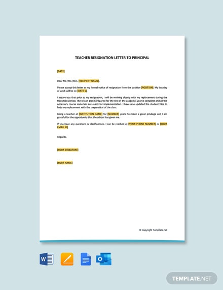 Free Teacher Resignation Letter To Principal