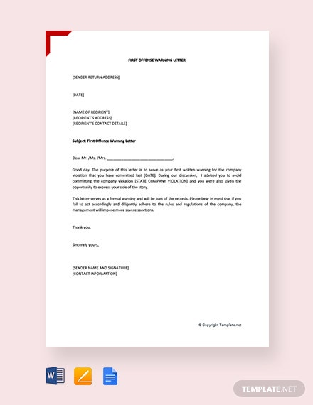 Free First Offence Warning Letter
