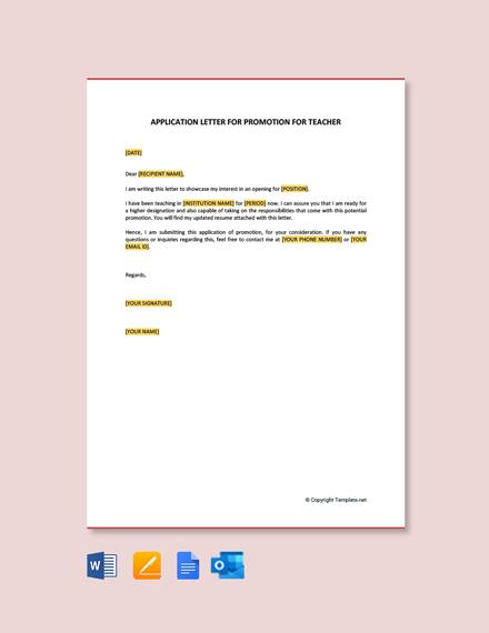 Application Letter for Promotion for Teacher