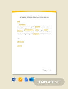 Free Application Letter For Promotion Within Company
