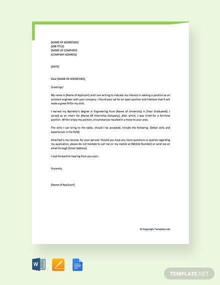 free job application letter for civil engineer fresher template  download 1440  letters in word