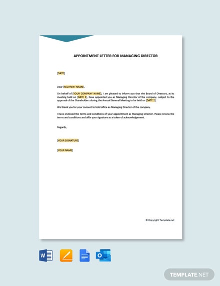 Free Appointment Letter for Managing Director