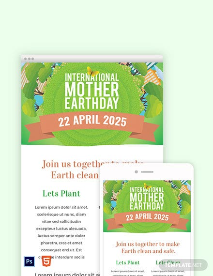 Download Free International Earth Day Email Newsletter Template