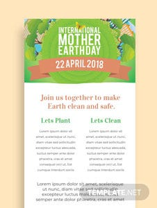 Free International Earth Day Email Newsletter Template