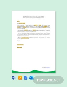 Free Simple Customer Service Complaint Letter