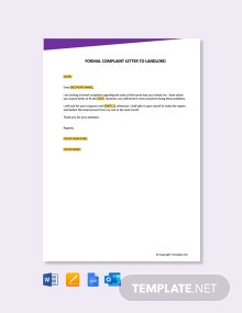 Free Formal Complaint Letter to Landlord