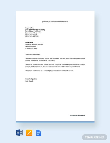Free Medical Certificate Letter From Doctor