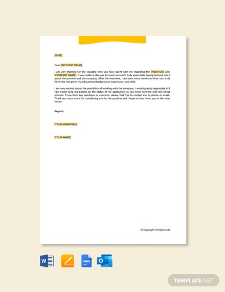 Free Thank You Letter After Job Interview