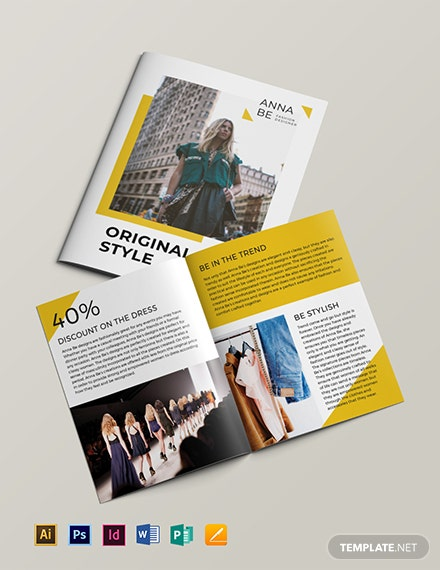 Fashion Designer Bi Fold Brochure Template