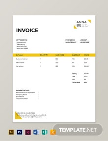 Fashion Designer Invoice Template