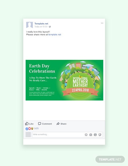 Free International Earth Day Facebook Post Template