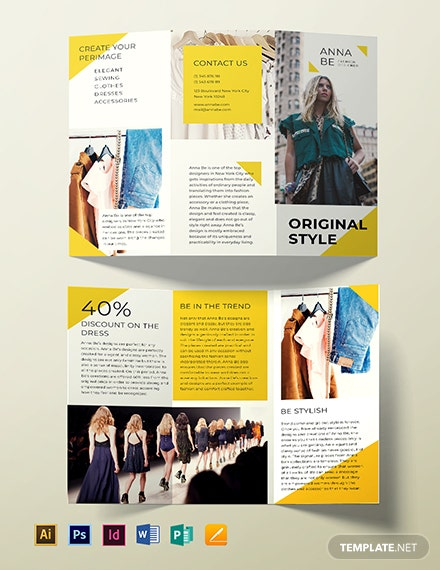 Fashion Designer Tri Fold Brochure Template