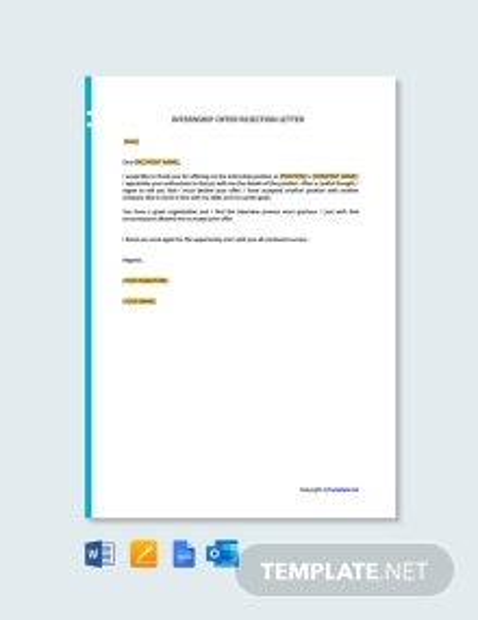 Free Internship Offer Rejection Letter