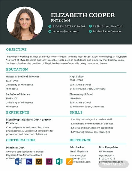 free physician resume template