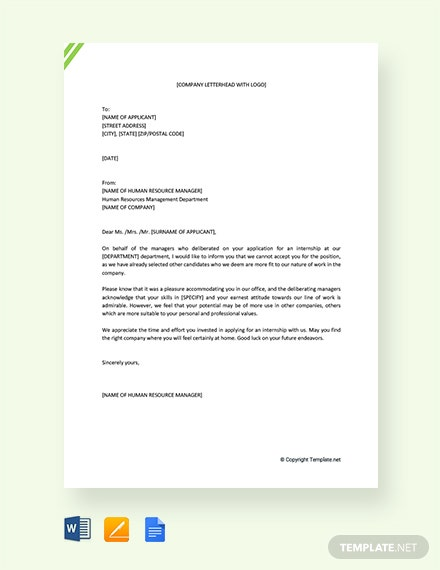Free Internship Rejection Letter Template Word Google