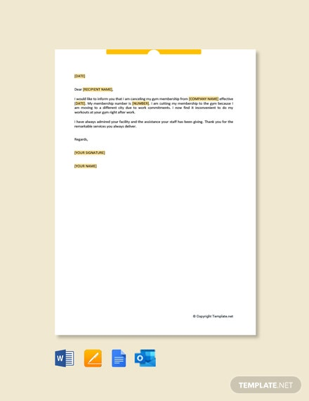 Free Membership Cancellation Letter
