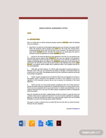 Free Simple Rental Agreement Letter