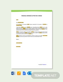 Free Personal Reference Letter For a Friend